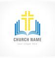 church cross bible logo vector image vector image