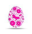 easter egg floral decoration pink vector image vector image