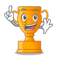 finger golden trophy cup isolated on mascot vector image vector image