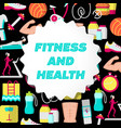fitness and health flat poster vector image