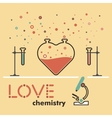 flat love love chemistry flat line heart love vector image vector image
