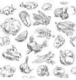 freehand drawing vegetables seamless pattern vector image
