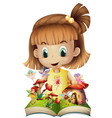 girl reading book of fairies vector image vector image