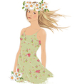 Girl with crown of daisies vector image vector image