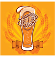 glass of beer on a yellow background vector image vector image