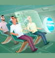 happy airline clients in futuristic plane vector image