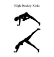 high donkey kicks exercise silhouette vector image vector image
