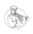 jazz musician playing trumpet doodle art vector image vector image