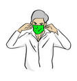 man wearing medical green mask vector image vector image