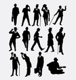Man with hat pose silhouette vector image vector image