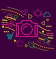 Photo camera on abstract colorful geometric dark vector image