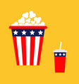 popcorn soda straw icon cinema icon in flat vector image vector image