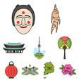 south korea set icons in cartoon style big vector image vector image