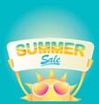 summer happy sun holding sale offer sign vector image