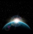 sunrise stars the sun over the planet earth vector image
