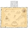 Treasure map on old parchment vector image vector image