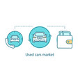 used cars market concept icon vector image vector image