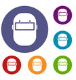 welding mask icons set vector image vector image