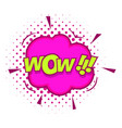 wow text sound effect icon pop art style vector image vector image