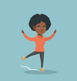 young african-american female figure skater vector image vector image