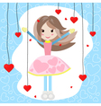 Cute girl with many red hearts vector image