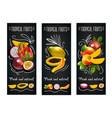 tropical fruits chalkboard label set vector image