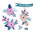 floral set colorful collection with leaves and vector image