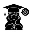 graduation girl with hat icon vector image