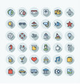 flat color thin line icons set with travel vector image