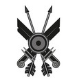 two swords two arrows one shield on a white vector image