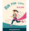 Sport Woman with Running Pink Ribbon Breast vector image