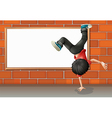 A boy breakdancing in front of the empty board vector image vector image