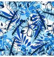 abstract blue flower pattern vector image vector image