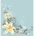 blue floral background with lily vector image vector image