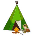 camping tent with doodle kids cartoon character vector image vector image