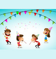 cartoon kids party birthday celebration vector image vector image