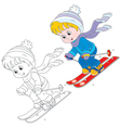 Child skiing vector image vector image
