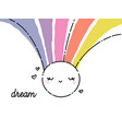childish cute and funny smiling sun with rainbow vector image vector image