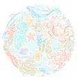 Circle set of ocean animals and plants contours vector image