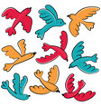 colorful doodle birds icon set vector image vector image