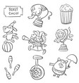 doodle of animal circus funny vector image vector image