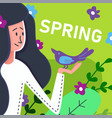flat banner spring brunette girl with purple bird vector image