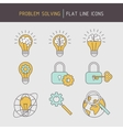 Flat line problem solving icons vector image vector image