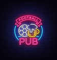 football pub neon sign design pattern sport bar vector image vector image