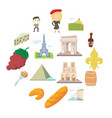 france travel icons set cartoon style vector image