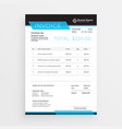 geometric style invoice template design in blue vector image vector image
