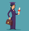 girl student female graduate cartoon character vector image
