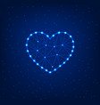 glowing heart on a blue background vector image vector image