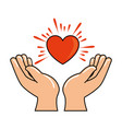 hands human protection with heart vector image vector image