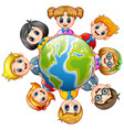 happy kids around the earth vector image vector image